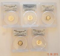 LOT OF 5 SILVER PROOF ROOSEVELT DIMES 1997,'98,'99,'00 & 01 PCGS PR69DCAM