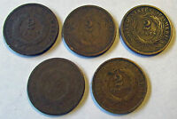 US 2 CENTS 1864 LM 1865 1866 1868 1868 TWO CENTS LARGE MOTTO STARTER LOT