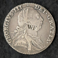 COUNTERMARKED GEORGE III SILVER SHILLING 1787 STAMPED:  W.F ON OBVERSE