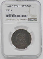 1842 O SEATED LIBERTY SILVER HALF DOLLAR COIN SMALL DATE  NGC VF 20 814