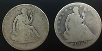 1849 O  1853 ARROWS RAY LOT OF 2 PIECES LOW GRADE  SEATED LIBERTY HALF  DOLLARS