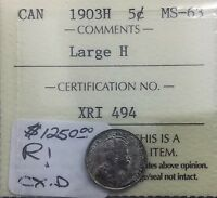 Click now to see the BUY IT NOW Price! CANADA 1903 LARGE H   5 CENTS ICCS MS 63 UNC SILVER  KEY  DATE