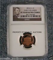 N09 2014 S 1C PENNY LINCOLN PF70 RD ULTRA CAMEO EARLY RELEASES NGC 3871798 094