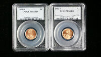 1953-D-S PCGS MINT STATE 66 RD  SMALL CENTS LINCOLN WHEAT LOT OF 2 COINS