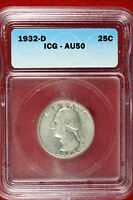 1932-D ICG AU50 WASHINGTON QUARTER DOLLAR E1451