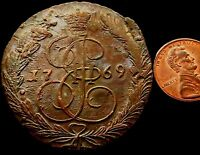 R864: 1769 HUGE RUSSIAN COPPER 5 KOPEKS   HIGH GRADE