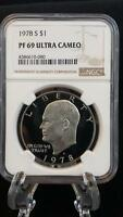 1978 S CLAD EISENHOWER DOLLAR PROOF 69 ULTRA CAMEO NGC 080
