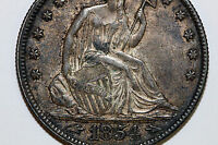 : 1854 P SEATED LIBERTY HALF NET ABOUT UNCIRCULATED SCRATCHED SL
