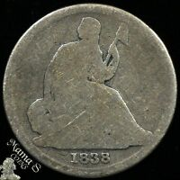 1838 O 10C SEATED LIBERTY DIME TEN CENT 90 SILVER US COIN TYPE 1 NO STARS