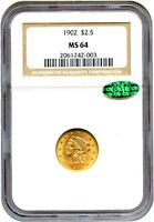 1902 $2 1/2 NGC/CAC MS64   TYPE COIN   2.50 LIBERTY GOLD COIN   TYPE COIN