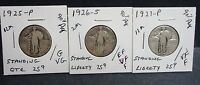 3  GOOD TO FINER3 STANDING QUARTERS-X1925,Y1926,Z1927--90 SILVER