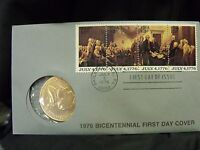 1976 BICENTENNIAL FIRST DAY COVER W/ MEDAL