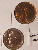 2 1968 S   PROOF    LINCOLN CENT & ROOSEVELT DIME  BEAUTY