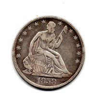1858 0 SEATED HALF DOLLAR FINE CONDITION GREAT COLOR