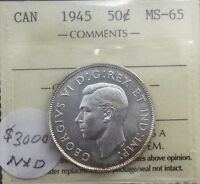 Click now to see the BUY IT NOW Price! CANADA 1945 50 CENTS  ICCS MS 65 GEM UNC  HALF REGISTRY SET CANDIDATE