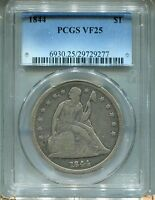 1844  SEATED LIBERTY DOLLAR  PCGS VF 25