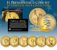 LIVING PRESIDENTS 2016 PRESIDENTIAL DOLLAR COLOR GOLDEN HUE 5 COIN SET  MUST SEE