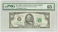 1963 A $50 FEDERAL RESERVE STAR NOTE ATLANTA GA PMG 65 GEM UNC EPQ 1676