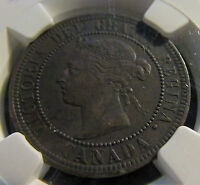 CANADA 1891 LL LD   LARGE CENT NGC XF 45 BN  LARGE LEAVES LARGE DATE