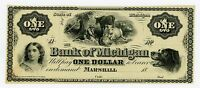 1800'S $1 THE BANK OF MICHIGAN NOTE AU