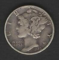 1940 MERCURY SILVER DIME IN FINE VF CONDITION