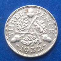 1932 KING GEORGE V SILVER 0500 THREEPENCE COIN