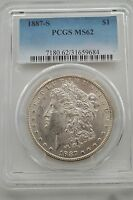 1887-S PCGS-MINT STATE 62 MORGAN SILVER DOLLAR