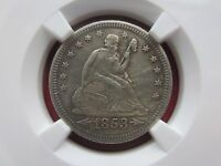 1853 O ARR & RAYS US 25C LIBERTY SEATED QUARTER DOLLAR NGC AU DETAILS