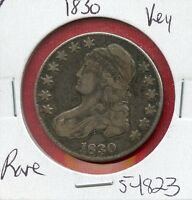 1830 BUST SILVER HALF DOLLAR 54823 $ NICE COIN $ US MINT  KEY DATE ESTATE