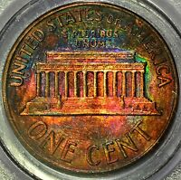 1959 D LINCOLN CENT BU  RAINBOW TONE COLORFUL TONING COLOR 1C 2