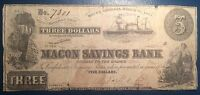 $3 1865 MACON SAVINGS BANK GEORGIA