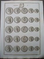 1819 BRITISH COINS KING GEORGE 11 GOLD GUINEA C1730 COPPER PLATE PRINT