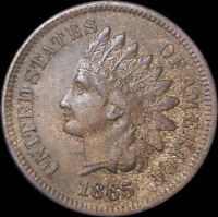 1865 INDIAN HEAD CENT PENNY FANCY 5 SNOW-13 EXTRA FINE  DETAILS  COIN K 2037