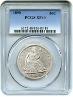 1890 50C PCGS XF40   LOW MINTAGE ISSUE   LIBERTY SEATED HALF DOLLAR