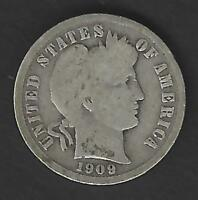 1909 BARBER DIME IN CIRCULATED CONDITION