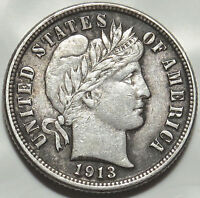 1913 BARBER SILVER DIME. EXTRA FINE COIN BOLD FULL LIBERTY. LIGHT GRAY TONE 365