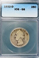 1932-D ICG G6 WASHINGTON QUARTER DOLLAR E1187