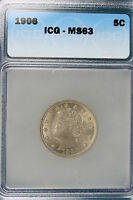 1906 ICG MINT STATE 63 LIBERTY NICKEL E1193