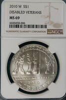 2010 W NGC MS69 DISABLED VETERANS COMMEMORATIVE DOLLAR   B3595