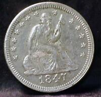 1847 LIBERTY SEATED QUARTER ID PP130