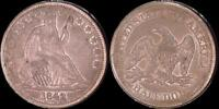 1842 LIBERTY SEATED HALF DOLLAR   REPUNCHED DATE  EXTRA FINE W/LUSTER