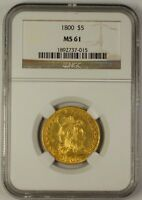 1800 HALF EAGLE $5 EARLY US GOLD COIN NGC MS 61 BEAUTIFUL UNC EXAMPLE