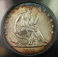 1841 O SEATED LIBERTY HALF DOLLAR 50C COIN ANACS MS 61 BU UNC TONED BETTER