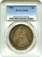 1843 $1 PCGS XF40   LOW MINTAGE DATE   LIBERTY SEATED DOLLAR   LOW MINTAGE DATE
