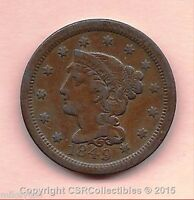 BRAIDED HAIR LARGE CENT   1849   KM67   NICE COIN