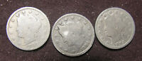 3 COIN LIBERTY OR V NICKEL SET ARE 1892. 1893  & 1894