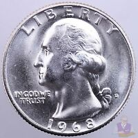 1968 D WASHINGTON QUARTER GEM BU US COIN