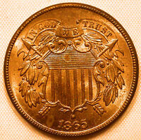 1865/1865 TWO CENT PIECE STUNNING RED BU COIN WITH A REPUNCHED DATE