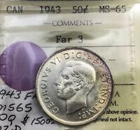 Click now to see the BUY IT NOW Price! CANADA 1943 FAR 3  ICCS 50  CENTS  GEM UNC  MS65  INCREDIBLE EYE APPEAL