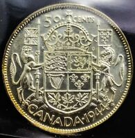 Click now to see the BUY IT NOW Price! CANADA 1944 NEAR 4  ICCS 50  CENTS  GEM UNC  MS65  WONDERFUL COIN